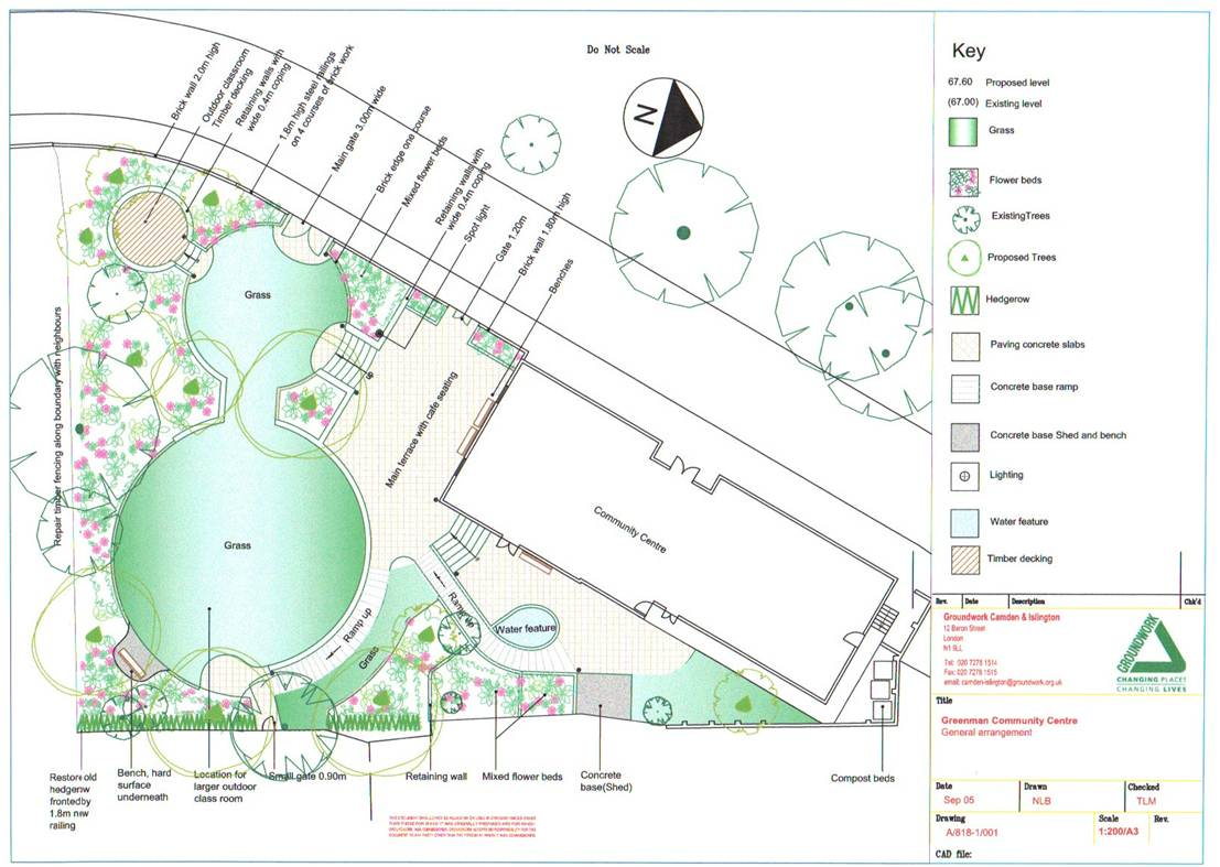 Garden project green man community centre for Garden designs for triangular gardens