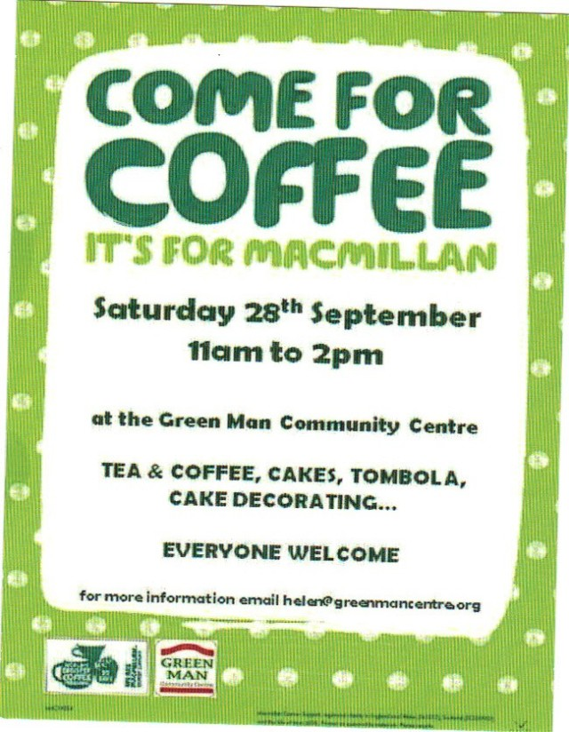 Green Man Coffee Morning for the McMillan Cancer Trust